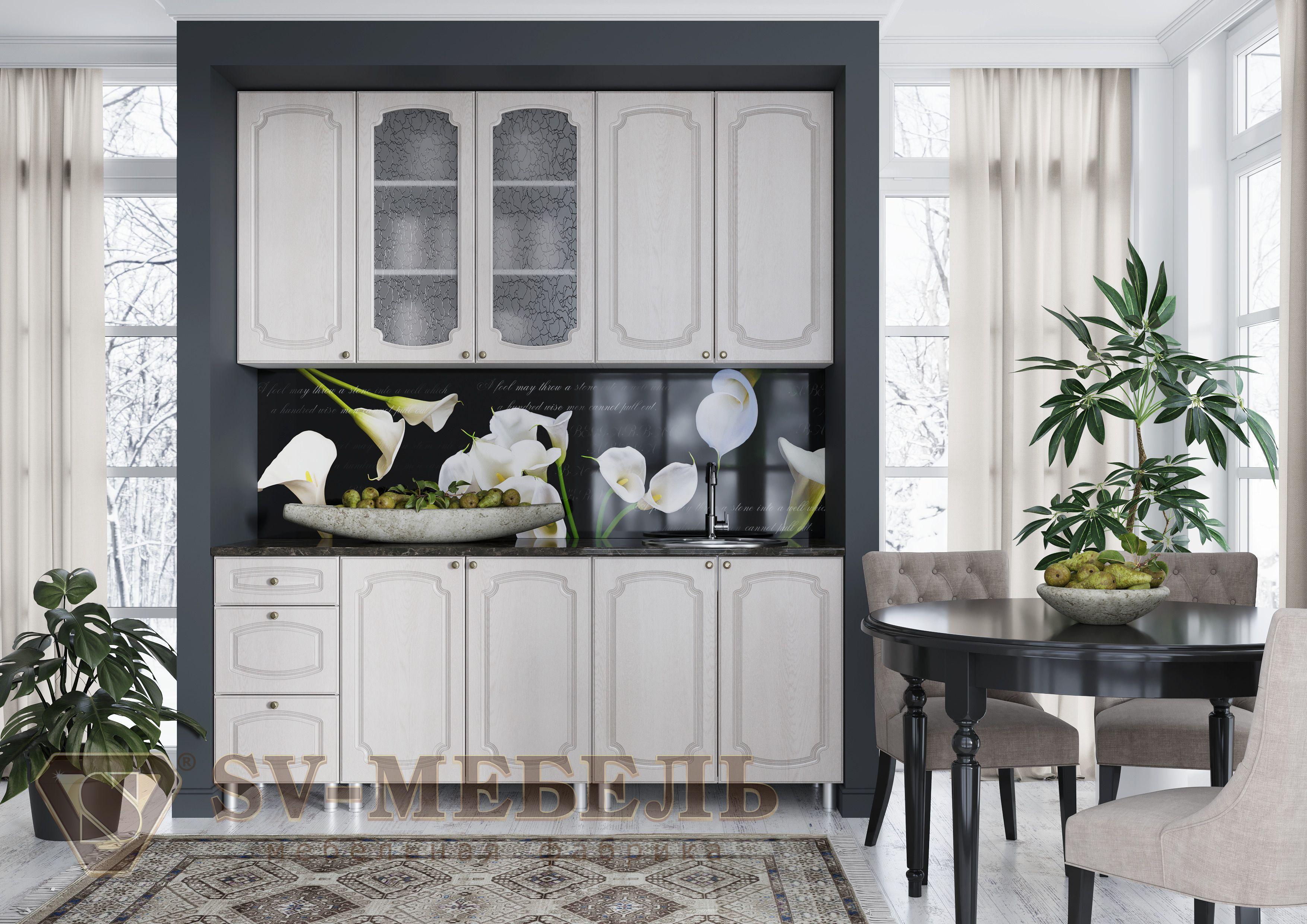 Кухонный гарнитур SV-мебель Классика (9,9 м) 919 Сосна белая/Корпус белый